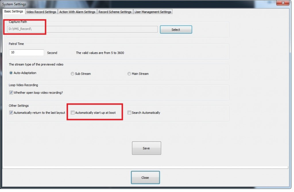 Software Foscam VMS - Otras configuraciones