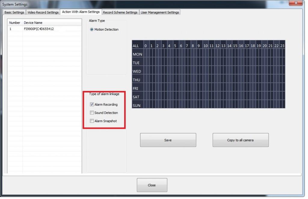 Software Foscam VMS - Acción a hacer trás detectar movimiento