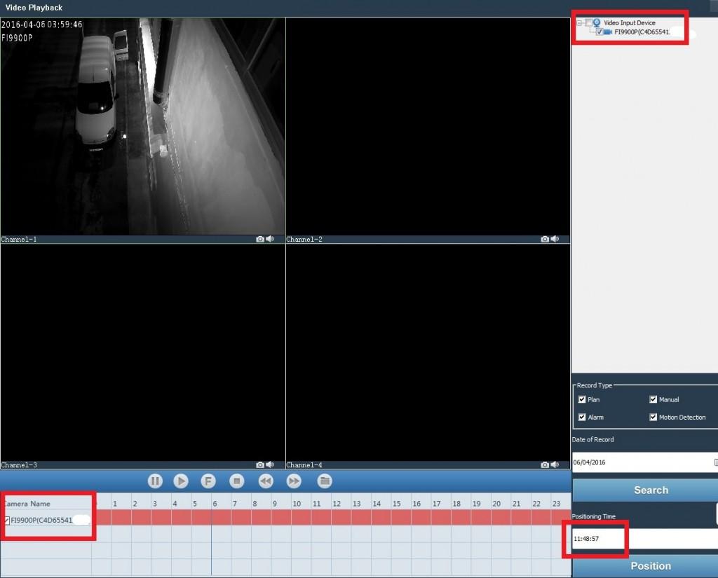 Software Foscam VMS - Reproducción vídeos grabados
