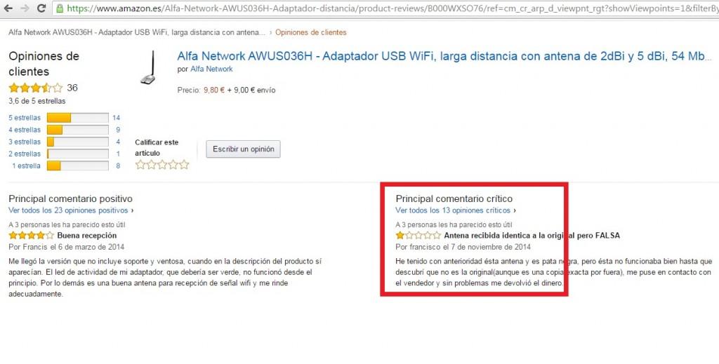 Opiniones AMAZON AWUS036H falsificada