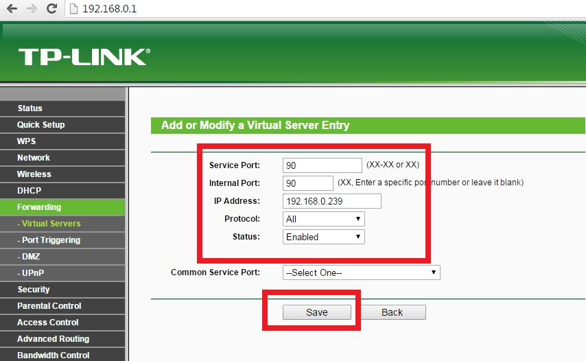 Configuración IP en Virtual Server