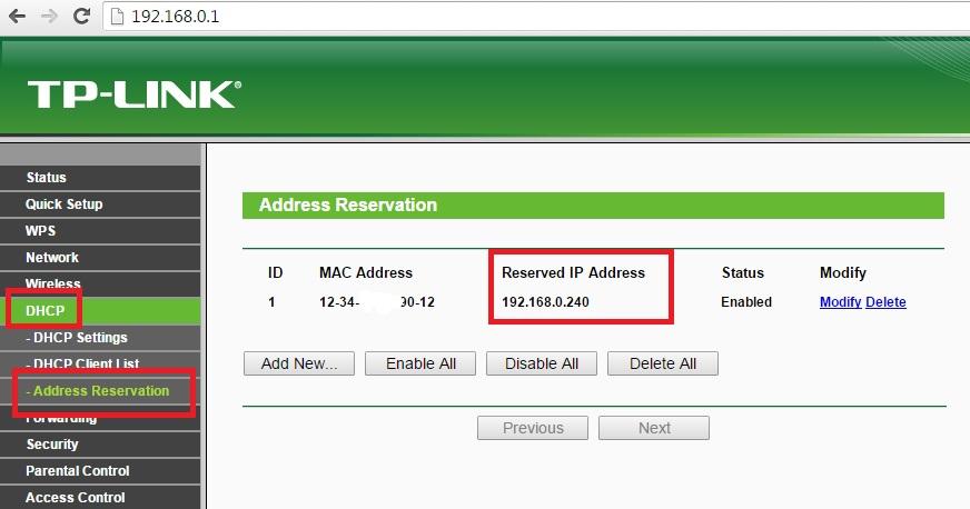 Dirección IP reservada en router