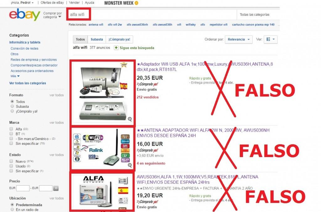 EBAY lista productos falsos ALFA