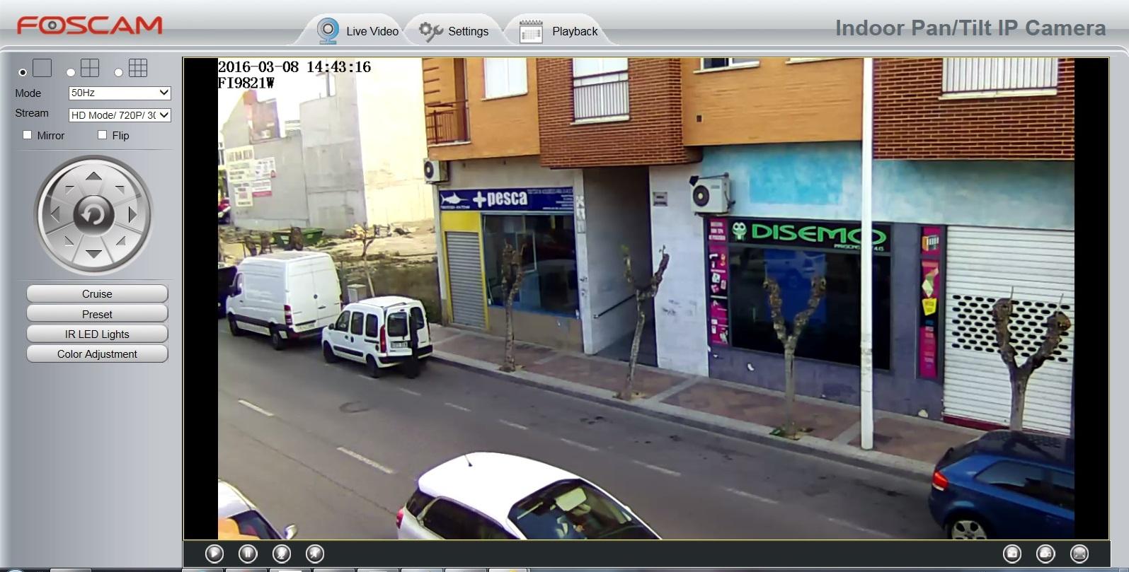 Demostración Foscam FI9821P Angulo 75º Resolución HD 720P