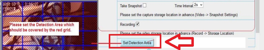 Foscam alarma: establece área de detección