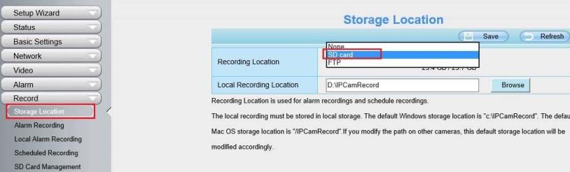 Foscam alarma: seleccionar lugar donde realizar grabaciones