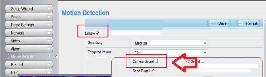Foscam alarma: sonido en cámara