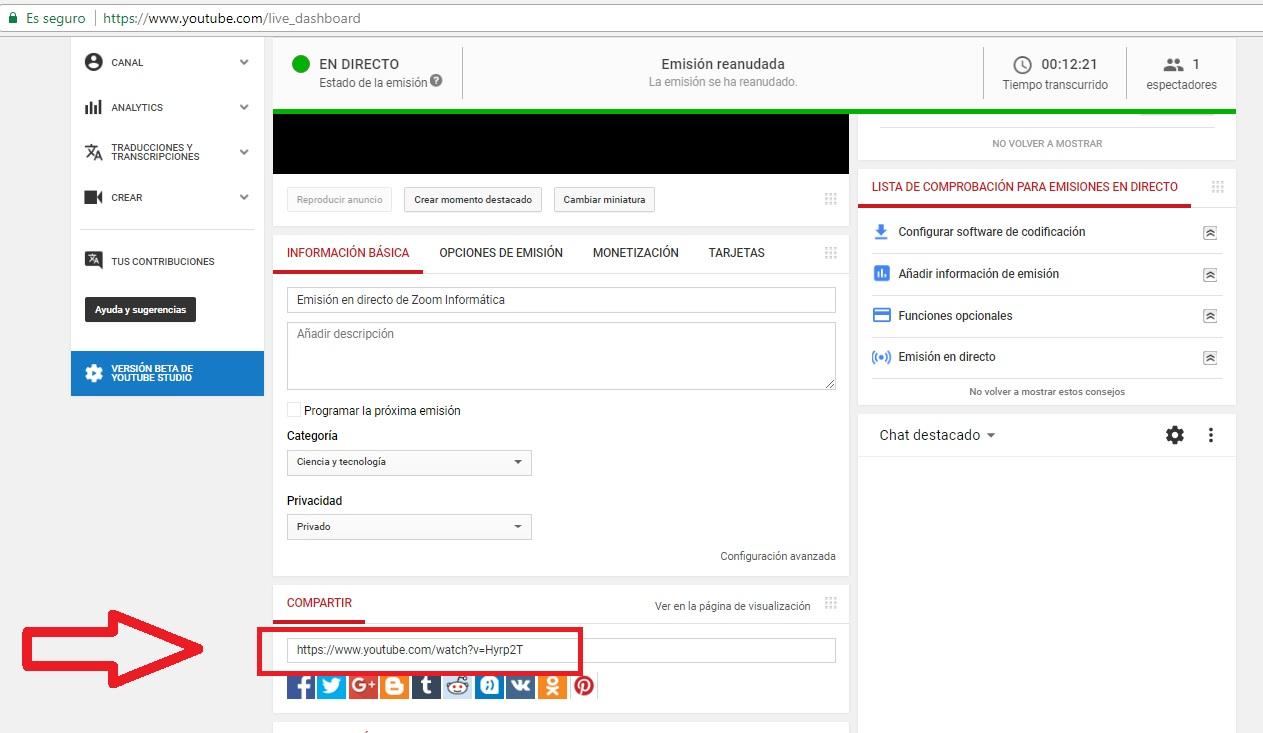 Transmisión de cámara IP en stream a través de Youtube