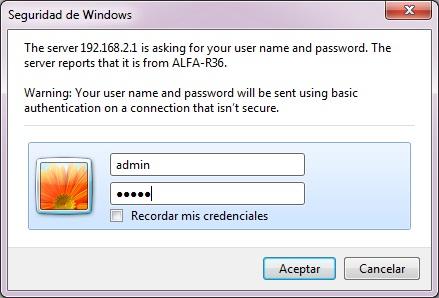 Nos registramos, con los datos de acceso aparece en el ALFA R36: admin , admin