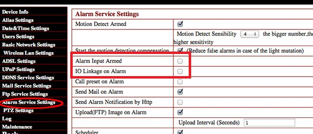 """Configuración """"Alarm Input Armed"""" y / o """"IO Linkage on alarm"""""""