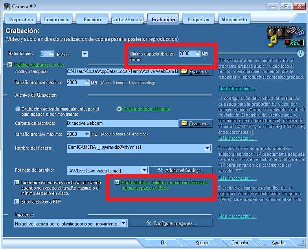 Active Webcam Borrar ficheros antiguos