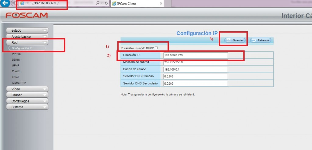 Configuración IP local en cámara IP Foscam