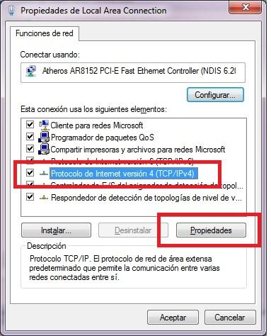 """Seleccionamos """"Protocolo de Internet version 4 (TCP/IPv4)"""" y hacemos clic en Propiedades"""