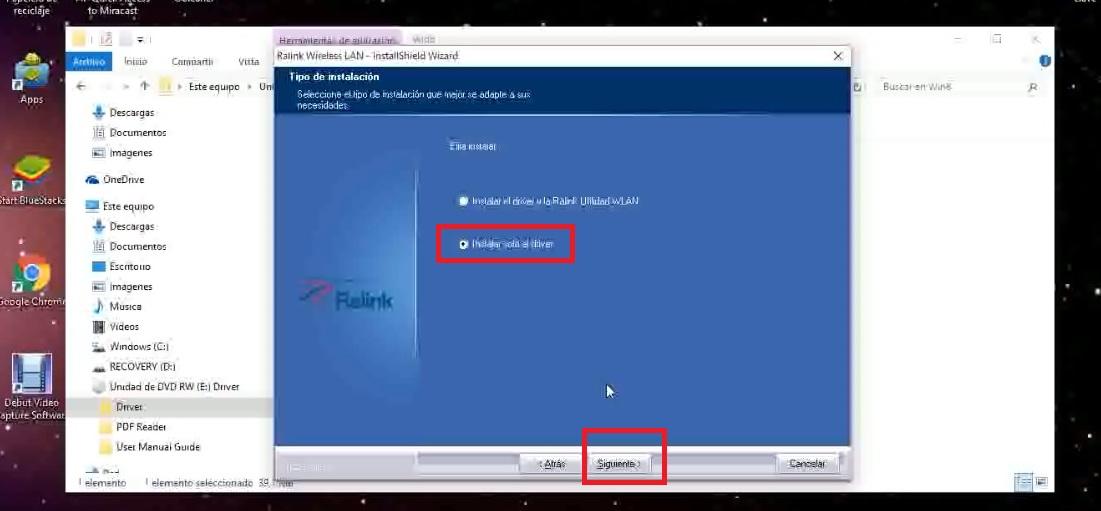 Proceso instalación driver ralink rt3070 windows 10