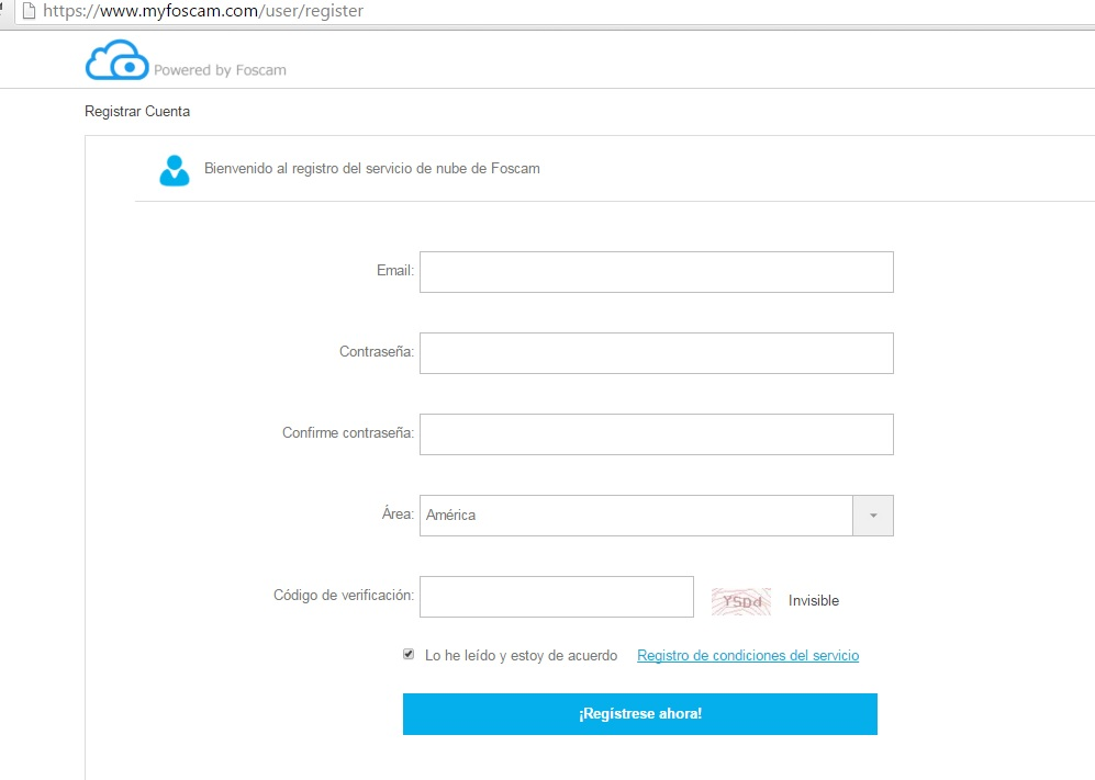 Registro cuenta en myfoscam.com