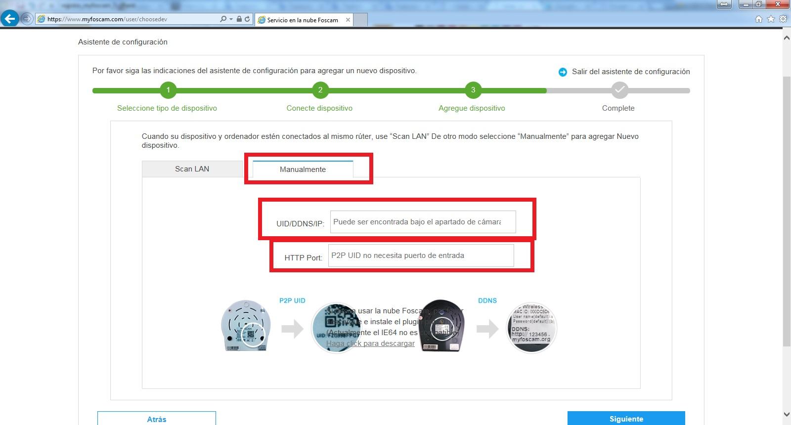 Introducir manualmente DDNS o IP en myfoscam