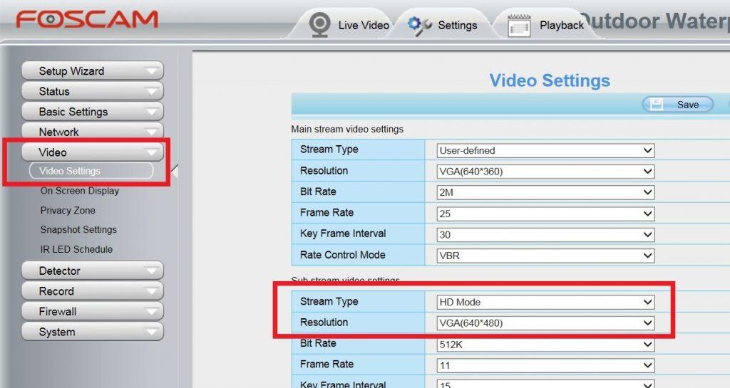Configuración stream secundario en cámara IP