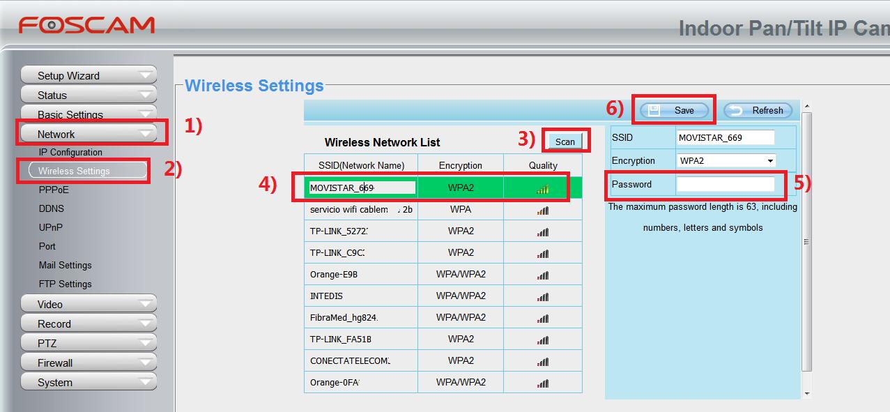 Foscam configuración WiFi cámaras IP