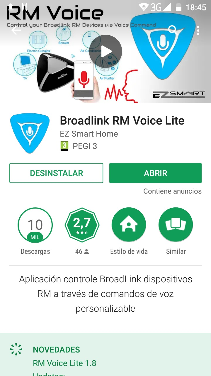 Control domótica Broadlink mediante voz