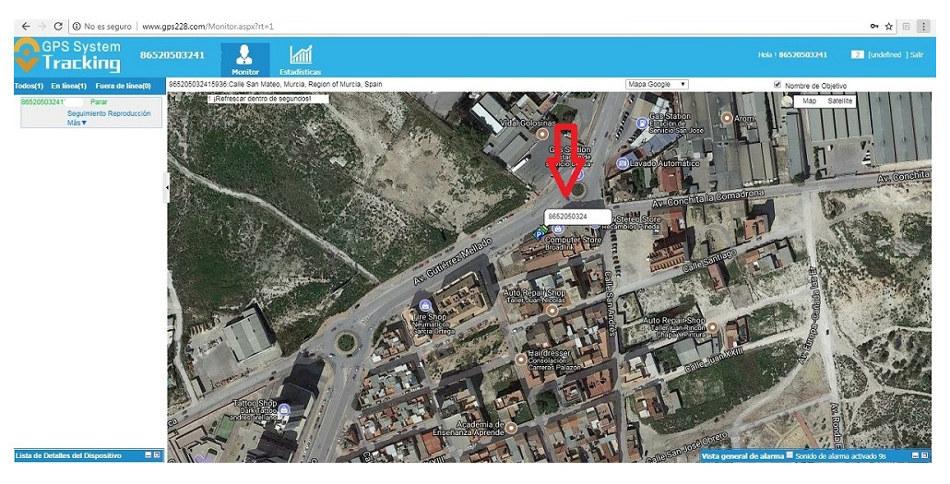 vista satelite localizador gps