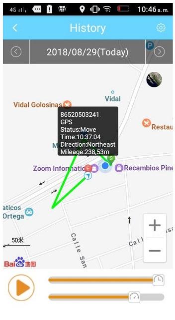 historial localizador GPS